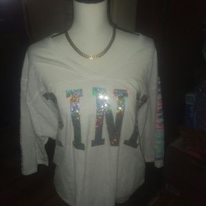 Vs pink 3/4 tee with bling